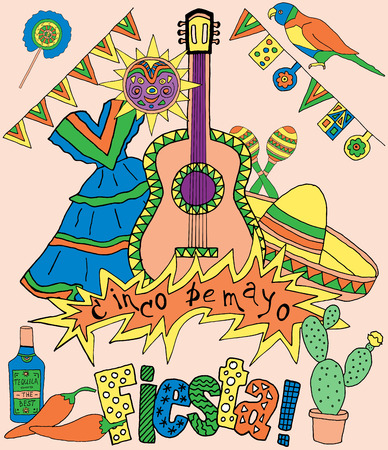 latinoamerica: Poster for fiesta time with colorful hand drawn attributes of mexican holiday. Cinco de Mayo banner.