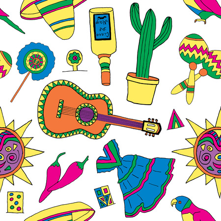 Seamless pattern for fiesta time with colorful hand drawn attributes of mexican holiday. Cinco de Mayo background.
