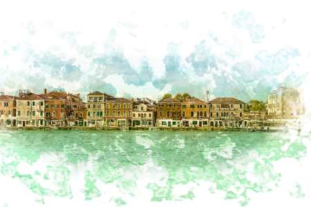 panoramic view: Panoramic view of Giudecca Island, Venice, Italy Illustration