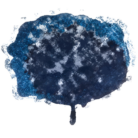 the ink blot: dark blue ink Blot. Abstract artistic element with grungy overtones. Illustration