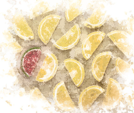 marmalade: Marmalade pieces in shape of lemon slices and one watermelon shaped piece on rough textile. Sweet food background.