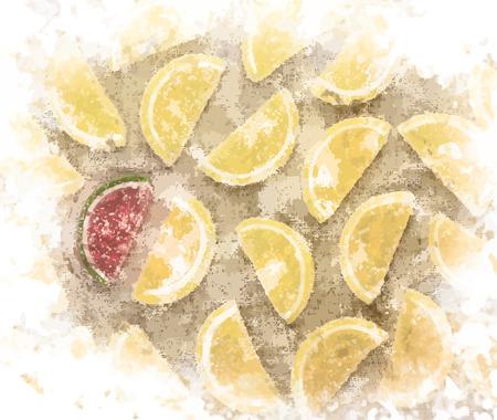 marmalade: Pezzi Marmalade in forma di fette di limone e uno di anguria a forma di pezzo sul tessile grezzo. Sfondo di cibo dolce. Vettoriali