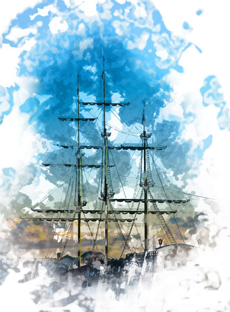 masts of an old ship 일러스트