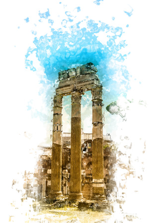 roman empire: Ruins of the Roman Forum in Rome, Italy. Rome is the 3rd most visited city in the European Union. Illustration