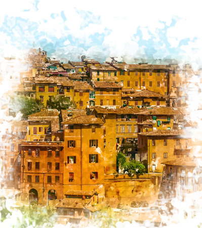 siena italy: Panorama of Siena, Tuscany, Italy Illustration