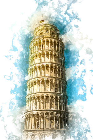 View of Leaning tower, Piazza dei miracoli, Pisa, Italy.