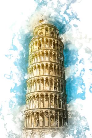 Weergave van de scheve toren, het Piazza dei Miracoli, Pisa, Italië. Stock Illustratie