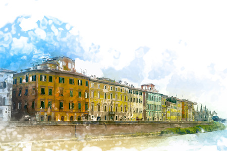 quay: View of old street and river Arno in Pisa city, Italy Illustration