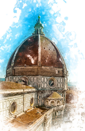 The Basilica di Santa Maria del Fiore (Basilica of Saint Mary of the Flower) in Florence, Italy Illustration