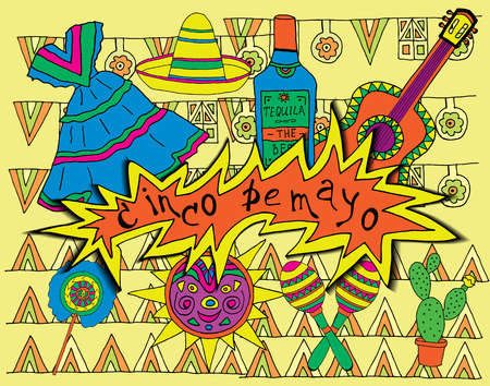 enchiladas: Poster for fiesta time with colorful hand drawn attributes of mexican holiday. Cinco de Mayo banner.