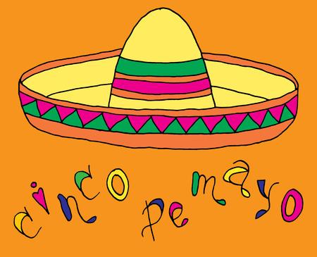 sombrero de charro: Cartel para tiempo de fiesta con los atributos de colores dibujados a mano de fiesta mexicano. Bandera del Cinco de Mayo.