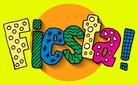 Affiche voor fiesta tijd met kleurrijke hand getrokken attributen van mexicaanse vakantie. Cinco de Mayo banner. Stock Illustratie