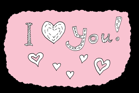 affection: Hand drawn message with love words. Image of love and affection. Romantic doodle Illustration
