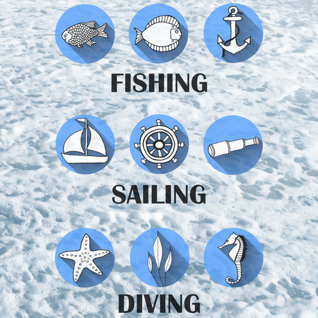 actividades recreativas: Conjunto de iconos para las actividades recreativas de agua con estilo textura de fondo en estilo retro.