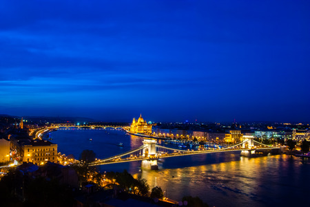 nightime: The famous Chain Bridge in Budapest, Hungary - night time photography.