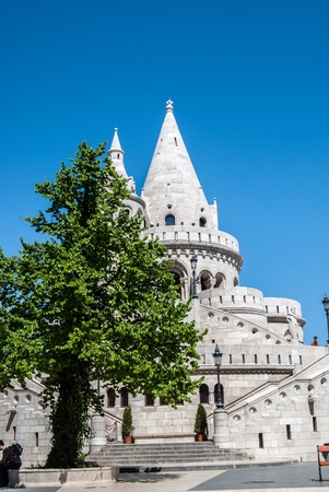Fishermans Bastion built in neo-gothic style with conical roofs and towers, in Budapest city, Hungary