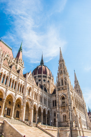 Famous building of Hungarian Parliament, neogothic landmark in Budapest city. photo
