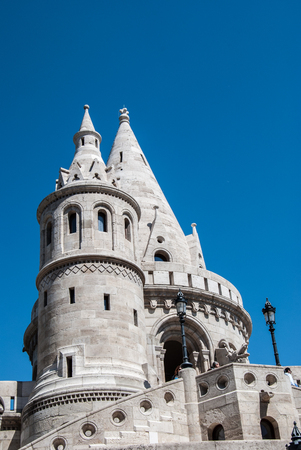 neogothic: Fishermans Bastion built in neo-gothic style with conical roofs and towers, in Budapest city, Hungary Editorial