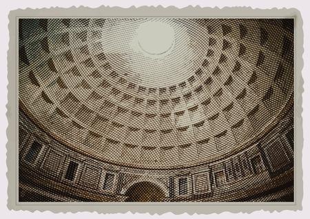 pantheon: Interior of Pantheon in Rome. One of the main landmarks in Europe. Vintage travel postcard.