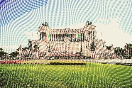 monumental: The monumental memorial for king Vittorio Emanuele II. Vintage travel postcard of Rome.