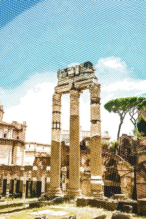 ruins: Ruins of the Roman Forum in Rome, Italy. Vintage travel postcard.