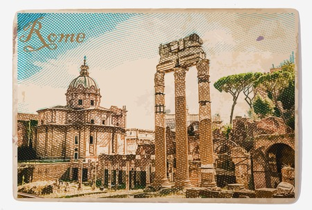 Ruins of the Roman Forum in Rome, Italy. Vintage travel postcard.