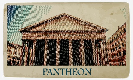 roman empire: Pantheon in Rome. One of the main landmarks in Europe. Vintage travel postcard.
