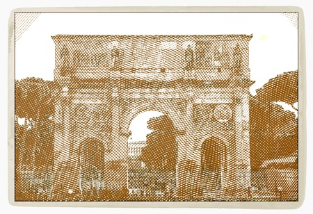 rome italy: Arch of Constantine, Rome Italy. Vintage travel postcard