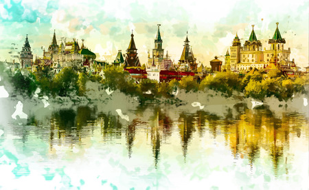 kremlin: Beautiful landscape with Izmaylovo Kremlin behind river and lush greenery, Moscow, Russia