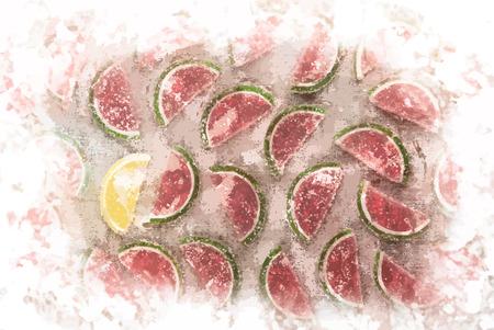 marmalade: Pezzi Marmalade a forma di anguria e fette di limone sulla tessile ruvida. Sfondo di cibo dolce.