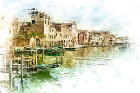 venice gondola: Beautiful colorful image of a canal in Venice with moorings and a gondola in the forefront and old houses under blue cloudy sky in the background.