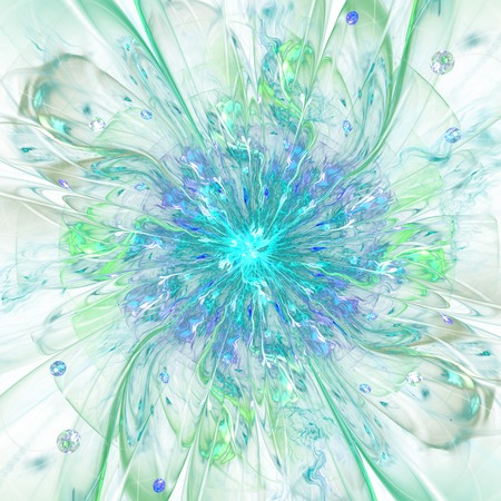 flower age: Abstract high resolution wallpaper with a detailed modern exotic looking shining flower in the center and a detailed decorative pattern with beams, orbs and ornamental pattern in green and blue