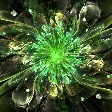 new age: Abstract high resolution wallpaper with a detailed modern exotic looking shining flower in the center and a detailed decorative pattern with beams, orbs and ornamental pattern in green and yellow Stock Photo