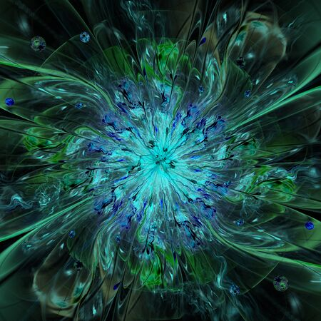 new age: Abstract high resolution wallpaper with a detailed modern exotic looking shining flower in the center and a detailed decorative pattern with beams, orbs and ornamental pattern in green and blue