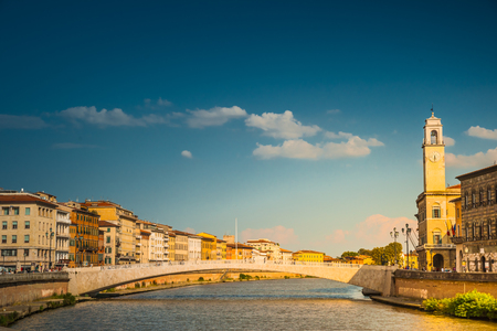 river arno: View of old street and river Arno in Pisa city, Italy Stock Photo