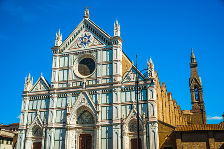 santa cross: The Basilica di Santa Croce (Basilica of the Holy Cross) - famous Franciscan church on Florence, Italy