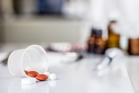 Pills and medical bottle in the hospital