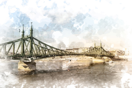 Liberty Bridge in Budapest, Hungary. Tourist destination photography with sityscape and river.
