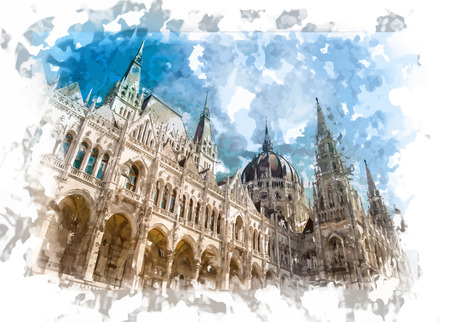 Famous building of Hungarian Parliament, neogothic landmark in Budapest city. Reklamní fotografie - 40532854