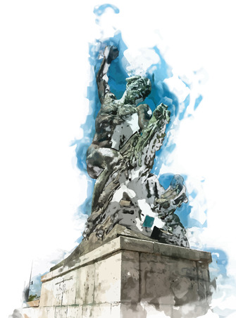 monumental: Side statue of the liberty statue on Gellert hill in Budapest in Hungary