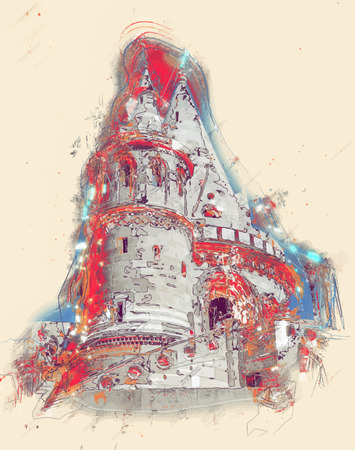 neogothic: Fishermans Bastion built in neo-gothic style with conical roofs and towers, in Budapest city, Hungary Illustration