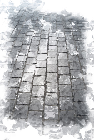 Old cobbled road in sunlight. Abstract texture for travel in Europe. Touristic background
