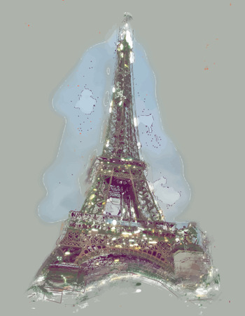 above clouds: Eiffel tower at dusk, above clouds. viewd from seine Illustration