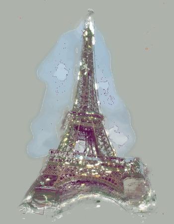 gran angular: Torre Eiffel al atardecer, las nubes por encima. viewd de seine