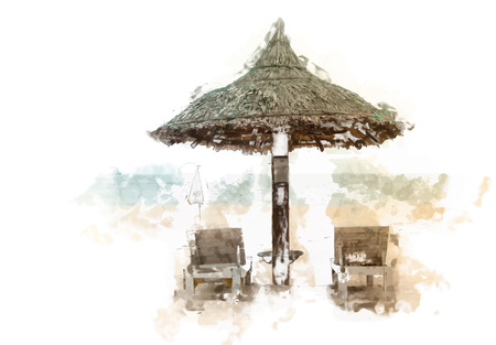 thatched: Two chaise longues under a straw umbrella on a beach near the sea. Tropical background.