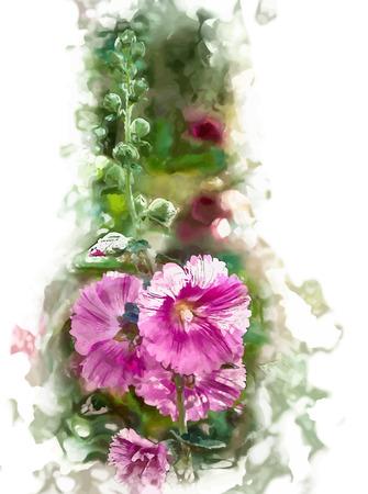 alcea: Malva (Alcea rosea malvarrosa) flores en un jard�n. Fondo floral magn�fico para las vacaciones, la belleza y la naturaleza.