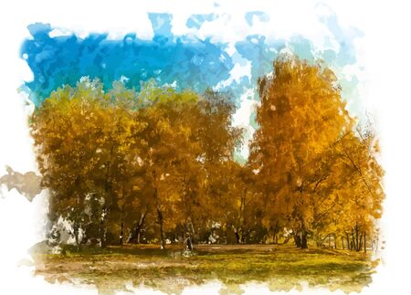 autumn landscape: Autumn landscape with colored trees and lens flare