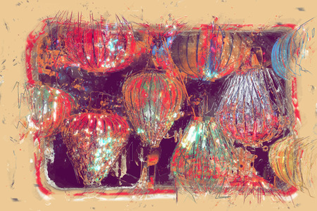 eastern culture: Night lanterns in old Hoi An town in Vietnam. Background of ancient eastern culture. Multiple colors and bright lights.