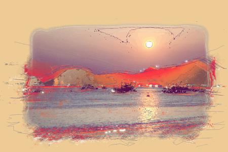 ha: Ha Long Bay at sunset with lens flare effect Illustration