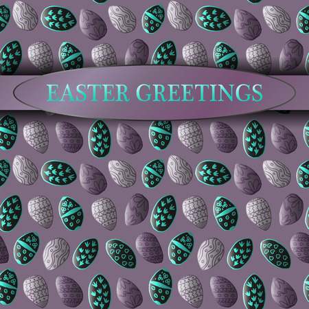 honeysuckle: Easter greeting template with seamless patterns made with hand drawn elements Illustration
